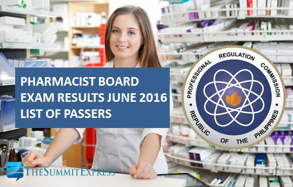 June 2016 Pharmacist board exam results