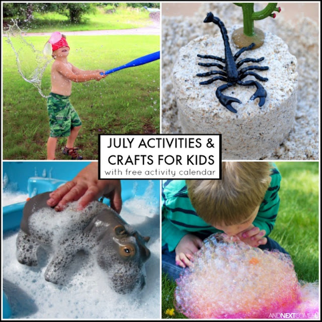 July activities & crafts for kids with free downloadable activity calendar - includes lots of summer activities and crafts from And Next Comes L