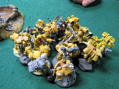 Terminators, and two assault marine squads assaulting Marneus Calgar