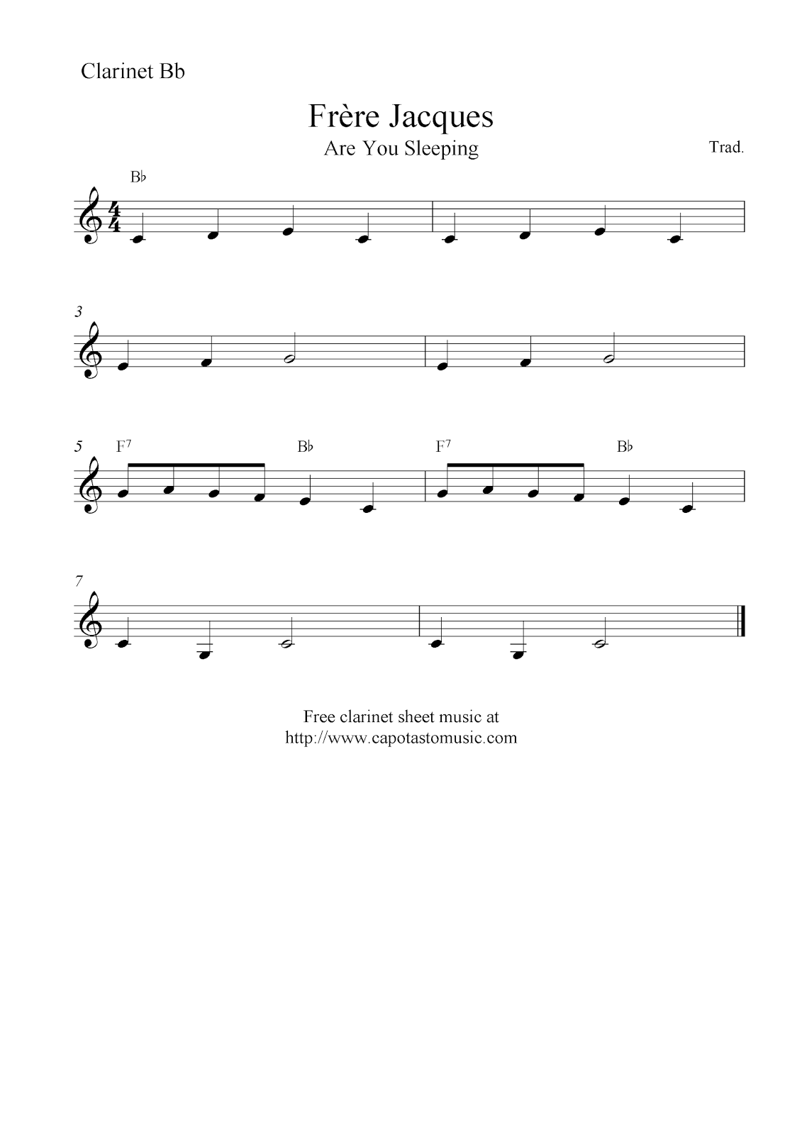 Free Printable Sheet Music Frere Jacques Are You Sleeping Free Easy Clarinet Sheet Music Notes