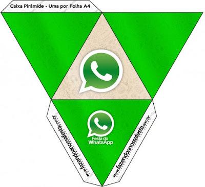 Caja con forma de pirámide de WhatsApp.