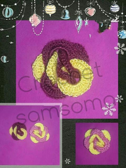 crochet samsoma . crochet flowers . Crocheted Flowers Patterns.  Crochet Ideas . كروشيه سمسومة . كروشيه ورود .طريقة كروشيه وردة بفكرة جديدة ومختلفة  . كروشيه وردة السلاسل . كروشيه ورود جديدة . كروشيه ازهار .