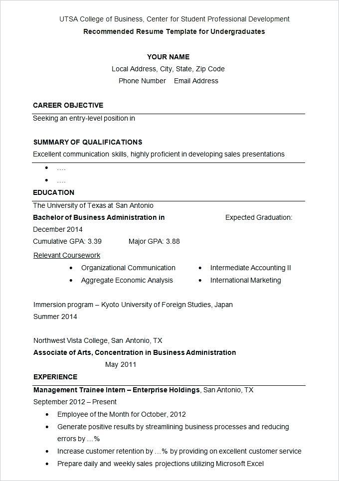 College Application Resume Outline 2019