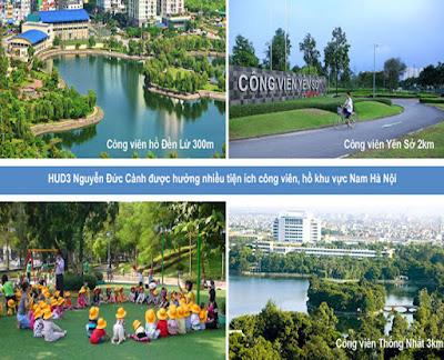 Tiện ích công viên cây xanh ở gần chung cư Hud3 Nguyễn Đức Cảnh