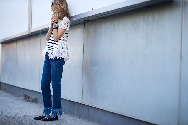 Frayed jeans street style 2015-2016