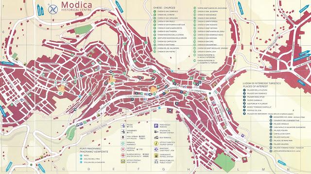 Mapa do centro histórico de Módica