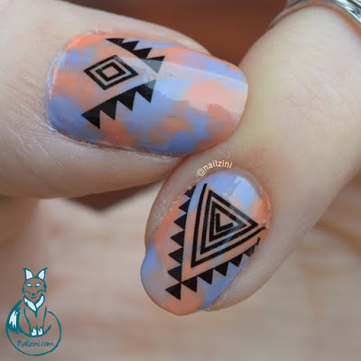 Dry Marble Tribal Nail Art