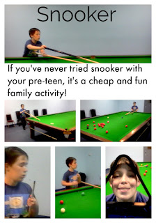Snooker is relaxing and challenging. A great way to connect with your preteens and beyond.