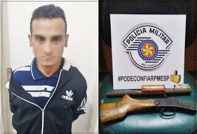 POLÍCIA MILITAR DE JUQUIÁ PRENDE HOMICIDA E LOCALIZA ARMA USADA NO CRIME
