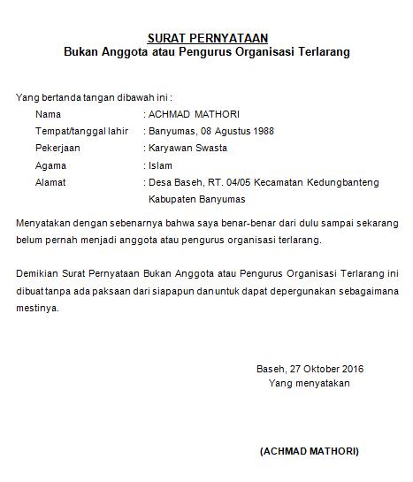 Contoh Surat Pernyataan Bukan Anggota Atau Pengurus Organisasi Terlarang