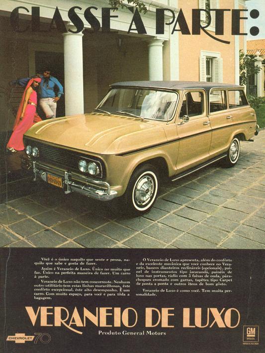 Propaganda antiga da versão de luxo do Veraneiro da Chevrolet apresentado no começo dos anos 70