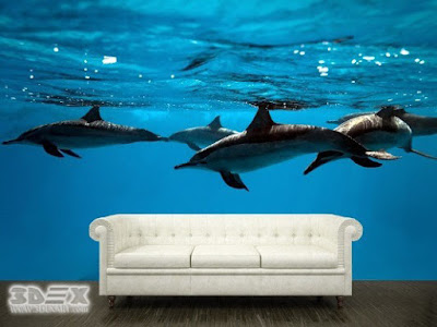 ocean themed 3D wallpaper murals for home walls
