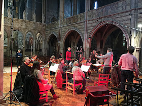 Aksel Rykkvin, Nigel Short and the Orchestra of the Age of Enlightenment at recording sessions in January 2016