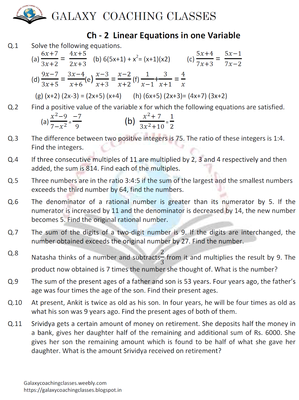 Galaxy Coaching Classes Worksheet Class 8 Ch 2 Linear Equations In Two Variables