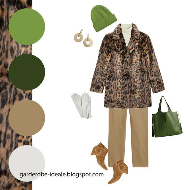 Сочетание леопардовой шубы со светлыми бежевыми брюками и зеленой шапкой и сумкой