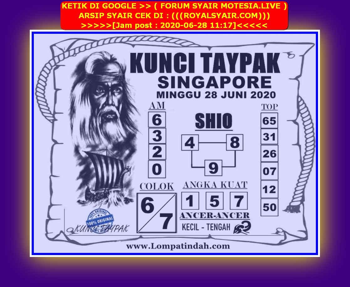 Kode syair Singapore Minggu 28 Juni 2020 39