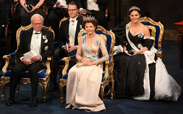 Queen Silvia in Elie Saab Couture Spring 2019. Crown Princess Victoria, Prince Daniel, Prince Carl Philip, Princess Sofia