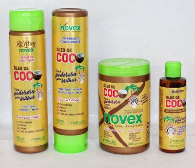 shampoo, condicionador, creme de tratamento e óleo de coco novex