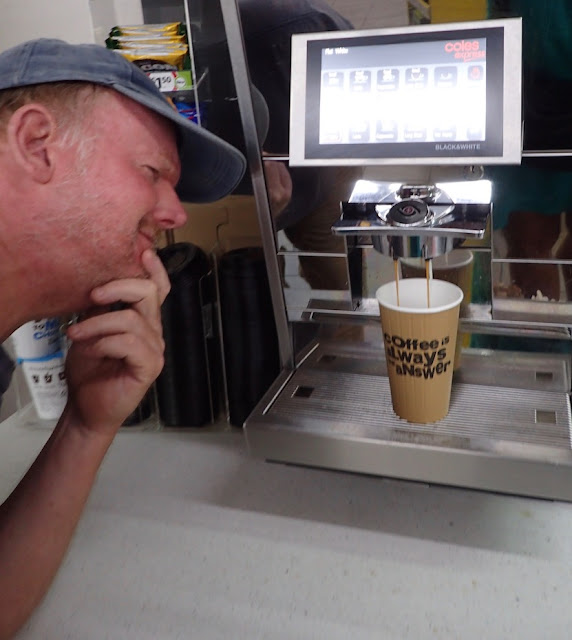 coffee machine in Cole's Express gas station Gosford NSW Australia near Sydney