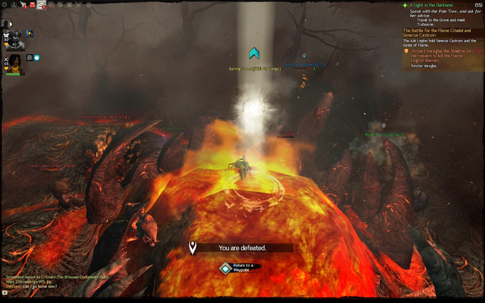 A screenshot of a character dead in what appears to be lava. Only their boots are visible. Guild Wars 2, ArenaNet, NCSOFT, 2012.