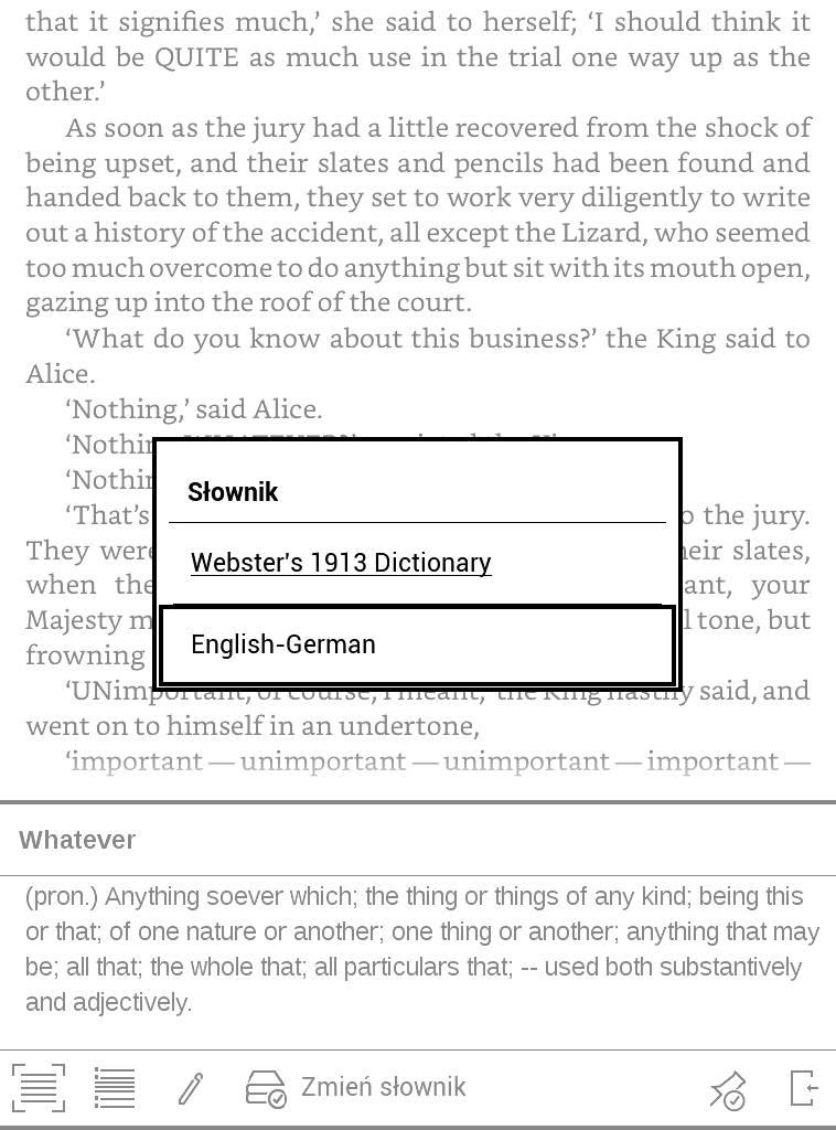 PocketBook Basic Lux 2 – wybór słownika