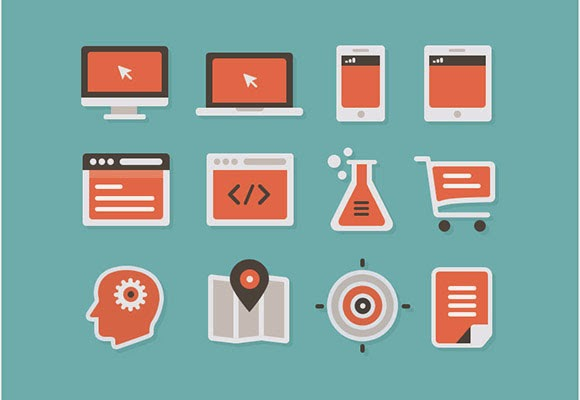 16 flat and coloured icons