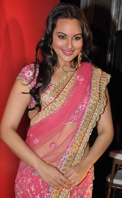 Sonakshi Sinha Pink Designer Sari