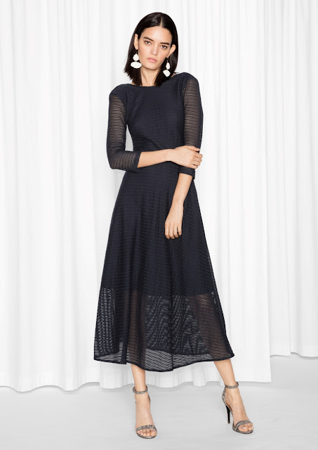black scoop back midi dress, stories black midi dress,