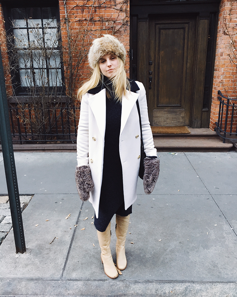J.Crew coat, Free People sweater dress, Modern Vintage boots, vintage fur hat, Bottega Veneta bag