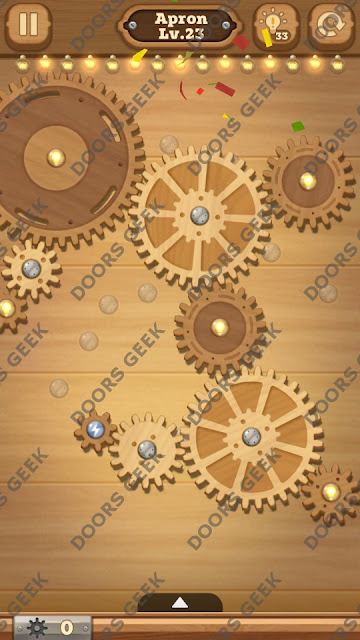 Fix it: Gear Puzzle [Apron] Level 23 Solution, Cheats, Walkthrough for Android, iPhone, iPad and iPod
