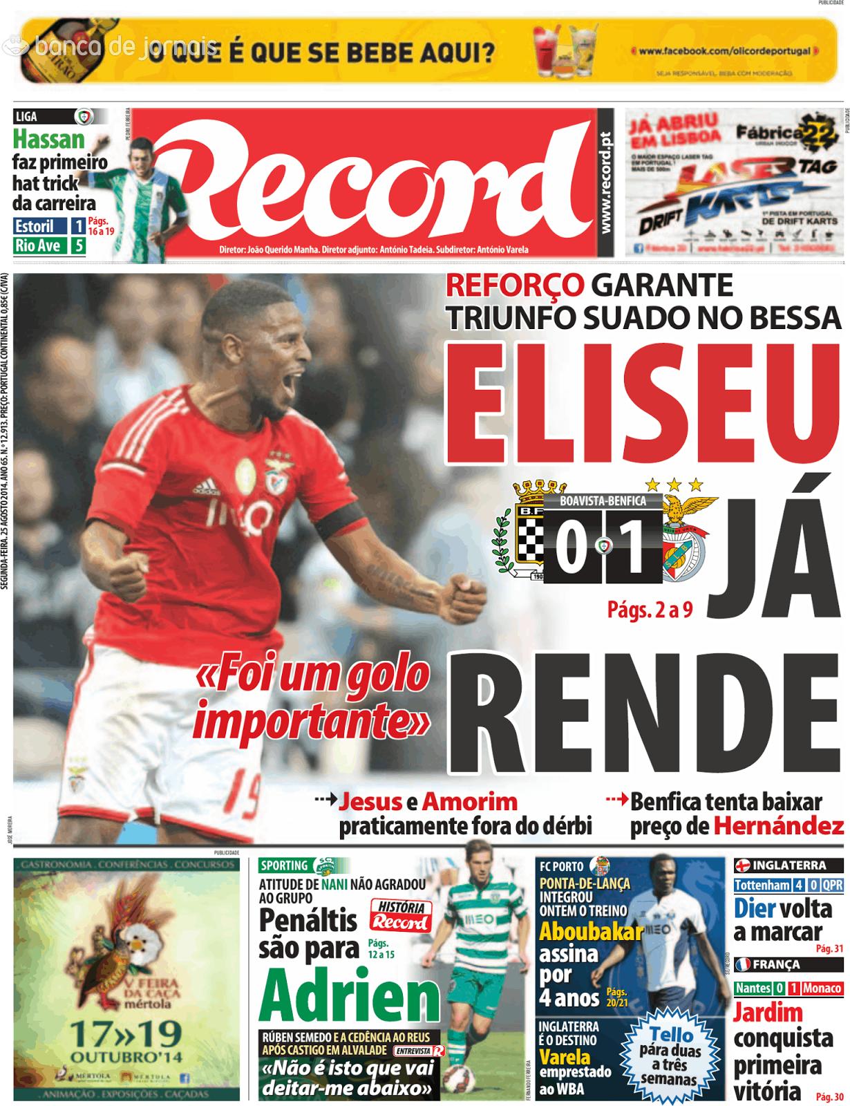 Capa do jornal Record de hoje  f6130aba877ce