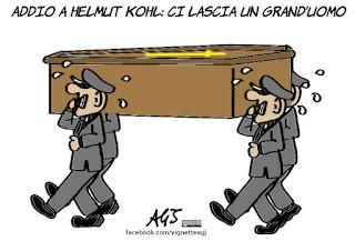 helmut kohl, coccodrillo, politico famoso, vignetta, satira