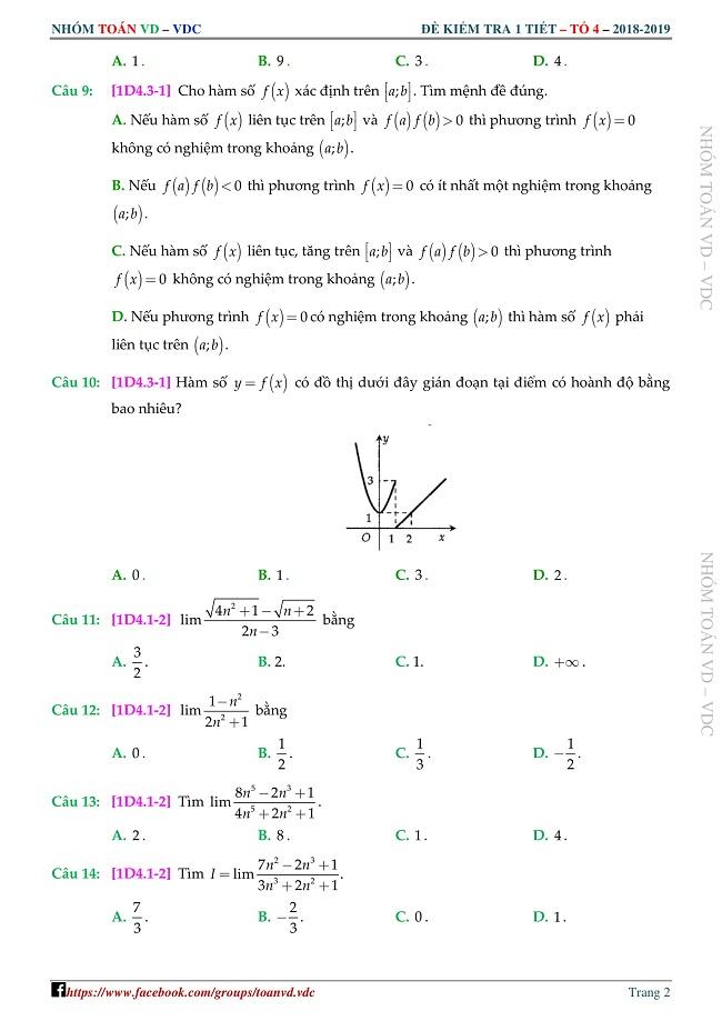 Bộ đề kiểm tra 1 tiết Đại số và Giải tích 11 chương 4 – giới hạn