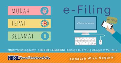 E-Filling Online tarikh akhir hantar