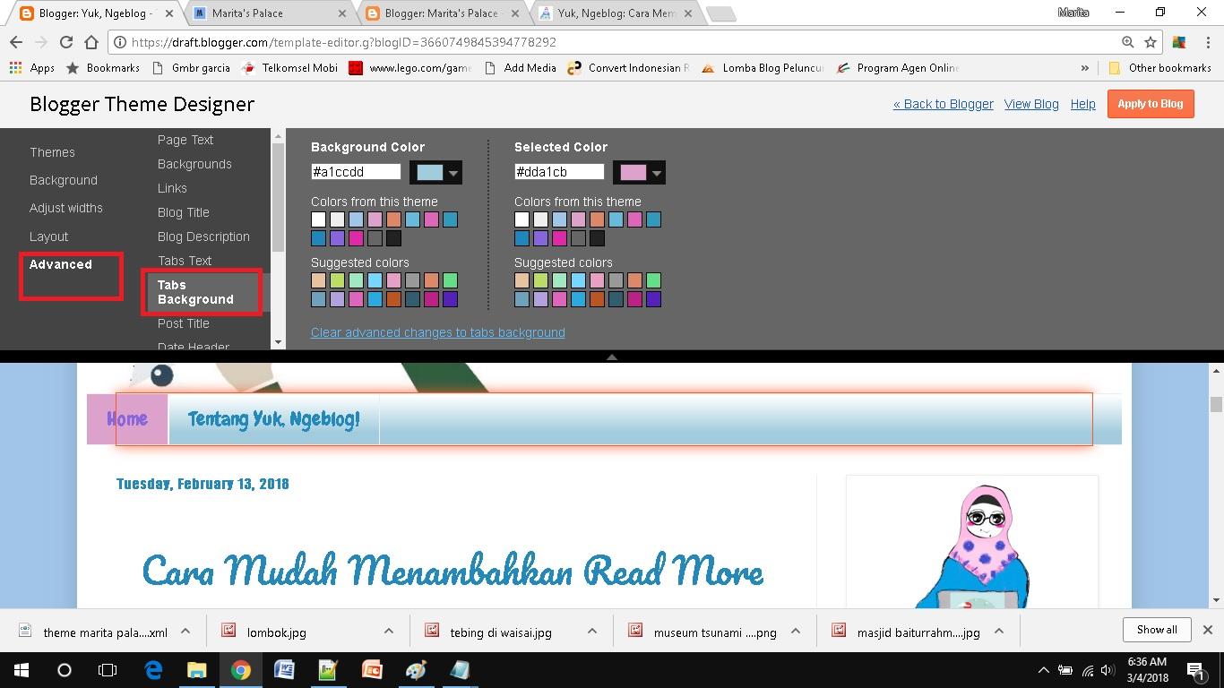 mendesain template blog sederhana pilih warna tabs background