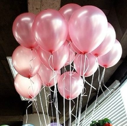 One thing every baby shower must have, is balloons! What is a party without  balloons? These balloons, shown here, are a very pretty, shiny pink balloon.