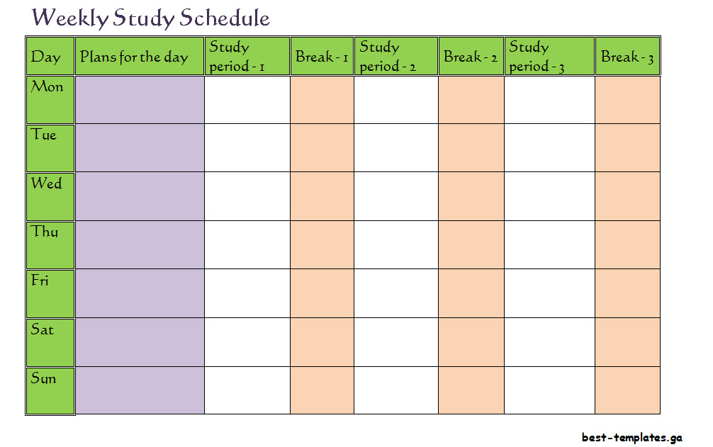 Weekly Timetable Template Monday To Sunday  Free Word Format  Best