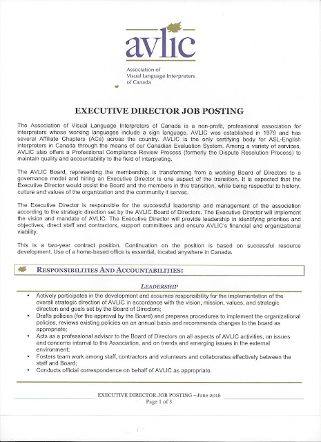 Deaf Centre Manitoba Inc Association of Visual Language - executive director job description