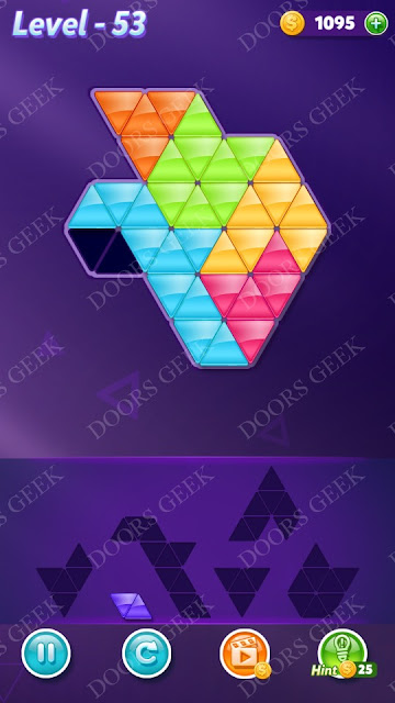 Block! Triangle Puzzle Intermediate Level 53 Solution, Cheats, Walkthrough for Android, iPhone, iPad and iPod