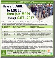 MRPL Recruitment Through GATE