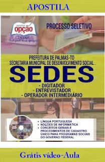 Apostila Prefeitura de Palmas (TO) Processo Seletivo SEDES Palmas
