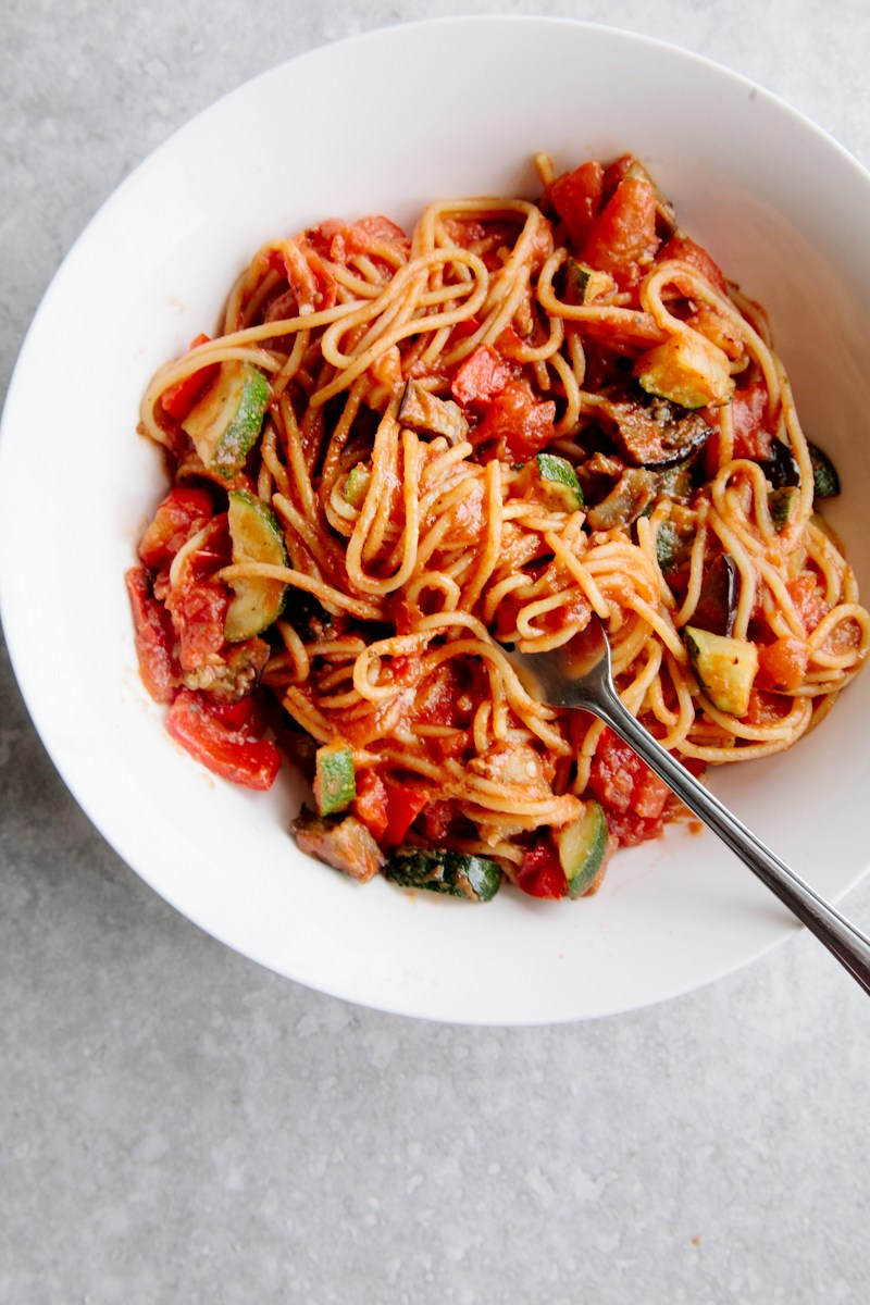 ONE-POT RATATOUILLE SPAGHETTI (VEGAN + GF) #ratatouille #spaghetti #spaghettirecipes #vegan #veganrecipes