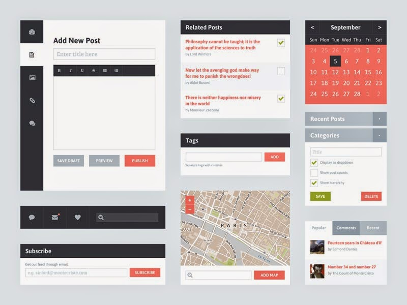 Freebie PSD: Flat UI Kit 2 (Blog)