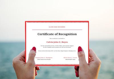 certificado de reconocimiento laboral