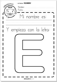 Inicial Nombre lectoescritura para imprimir en Infantil y Primaria 5 años mayúscula y minúscula con imagen