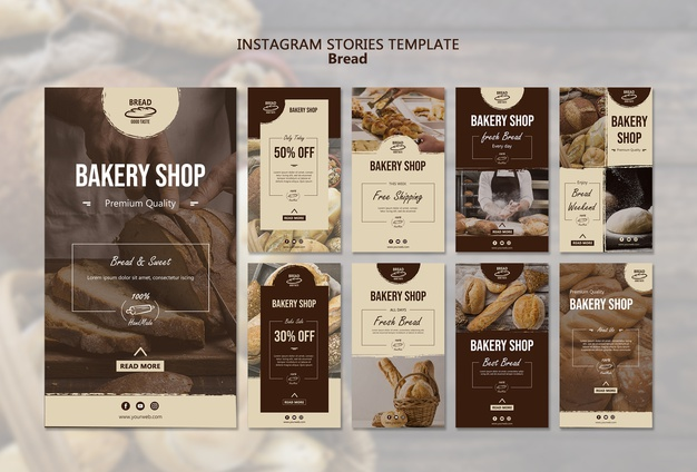 Bread instagram stories template Free Psd