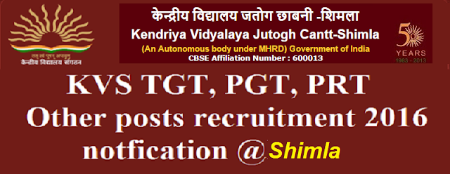 KVS,TGT, PGT, PRT,recruitment,Shimla