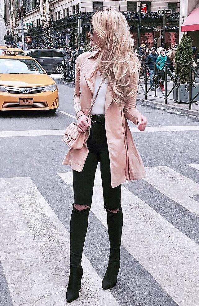 fashion trends / boots + black rips + white top + crossbody bag + blush jacket