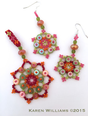 Summer beaded Snowflake Mandalas in red, orange, pink and lime green with sequins.  Pendant and necklace set by artist Karen Williams