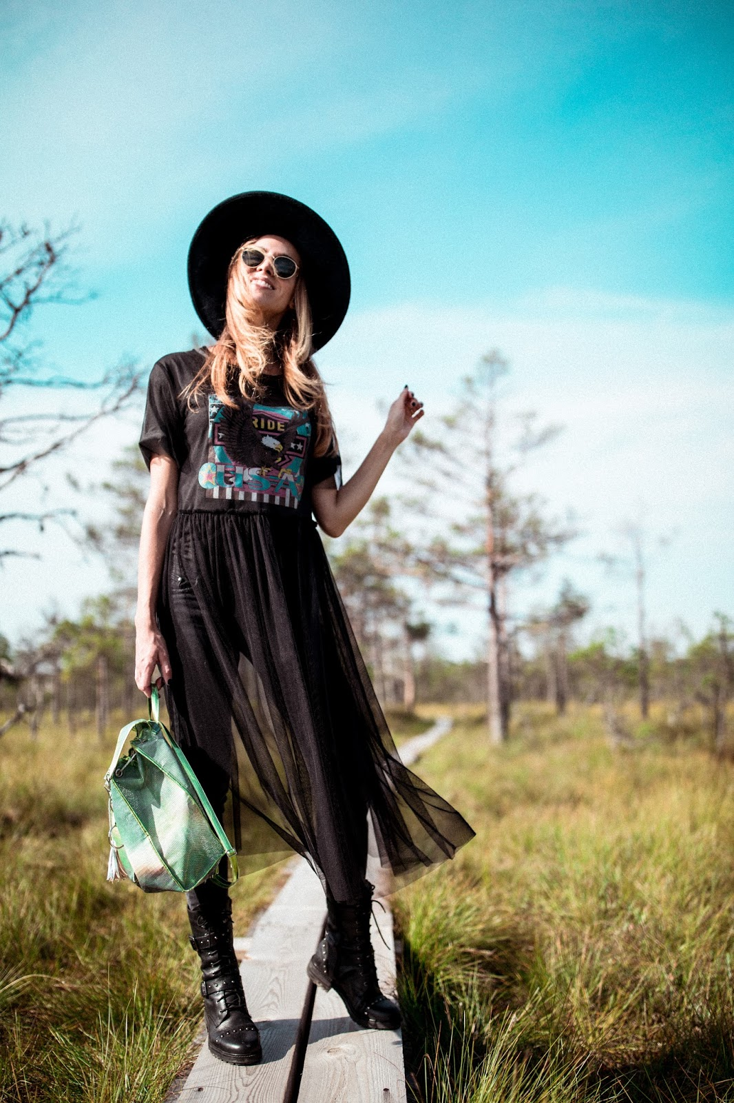 black mesh dress biker boots outfit summer